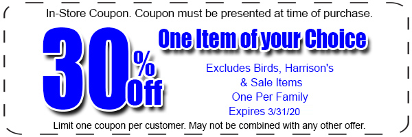 30 percent off bird products
