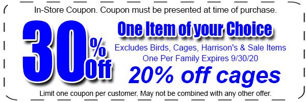30 percent off bird supplies coupon
